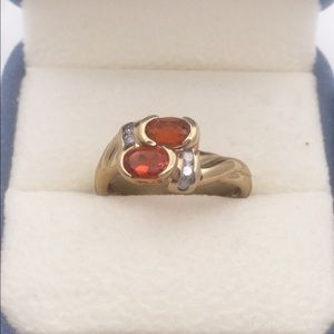 14k yellow gold faceted fire opal ring